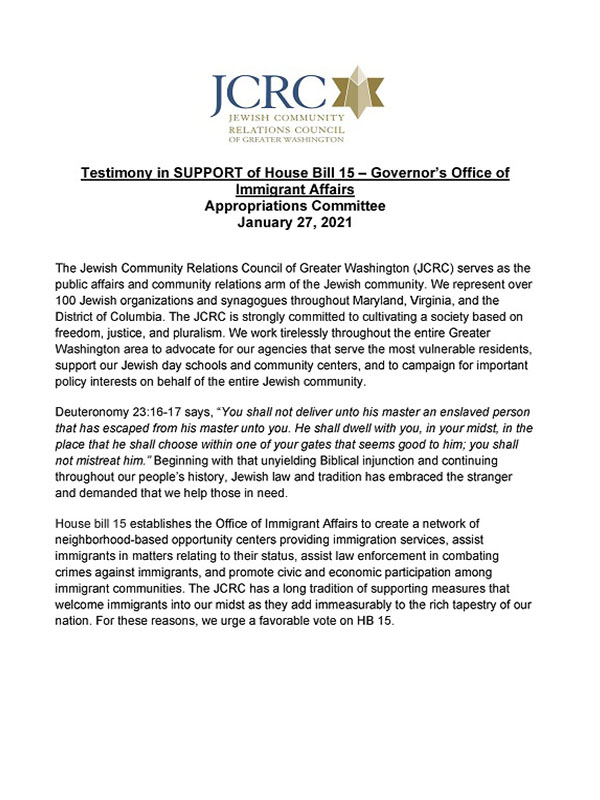 MD Testimony in SUPPORT of House Bill 15 – Governor's Office of Immigrant Affairs