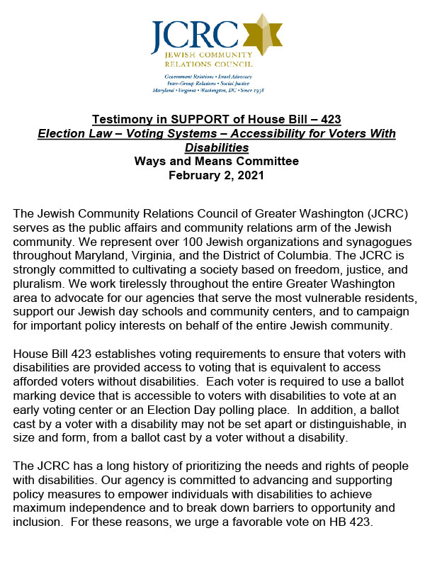 MD Testimony in SUPPORT of House Bill – 423 Election Law – Voting Systems – Accessibility for Voters With Disabilities