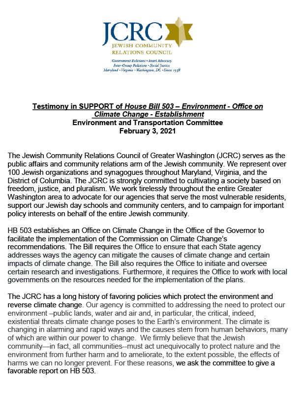 MD Testimony in SUPPORT of House Bill 503 – Environment - Office on Climate Change - Establishment